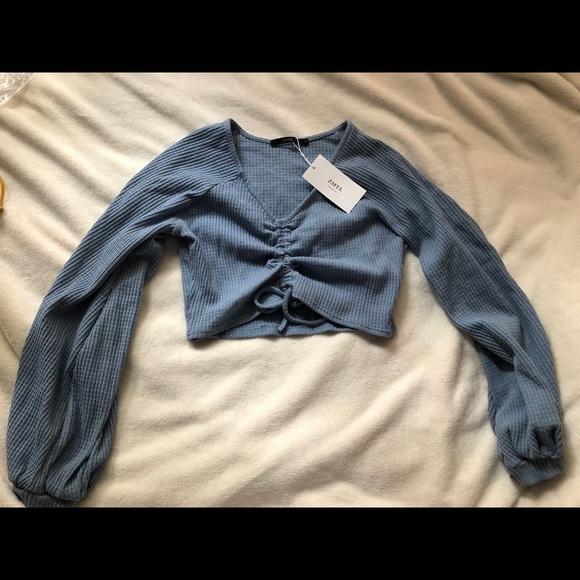01f33b95e38 Zaful Tops | Textured Knitted Gathered Top | Poshmark